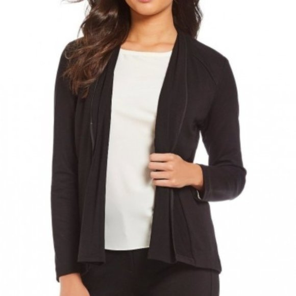 H by Halston Black Open Front Jacket M NWT